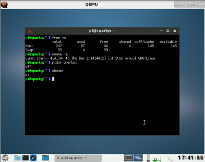 Sparky ARMHF in QEMU with Openbox and UXterm